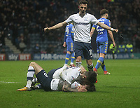 Preston North End's Alan Browne celebrates scoring his sides third goal  as he lies injured <br /> <br /> Photographer Mick Walker/CameraSport<br /> <br /> The EFL Sky Bet Championship - Preston North End v Leeds United - Tuesday 10th April 2018 - Deepdale Stadium - Preston<br /> <br /> World Copyright &copy; 2018 CameraSport. All rights reserved. 43 Linden Ave. Countesthorpe. Leicester. England. LE8 5PG - Tel: +44 (0) 116 277 4147 - admin@camerasport.com - www.camerasport.com