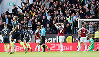 Burnley's Ashley Barnes and James Tarkowski are left dejected after Matthew Lowton failed to prevent a strike from Sergio Aguero crossing the line for the opening goal<br /> <br /> Photographer Rich Linley/CameraSport<br /> <br /> The Premier League - Burnley v Manchester City - Sunday 28th April 2019 - Turf Moor - Burnley<br /> <br /> World Copyright © 2019 CameraSport. All rights reserved. 43 Linden Ave. Countesthorpe. Leicester. England. LE8 5PG - Tel: +44 (0) 116 277 4147 - admin@camerasport.com - www.camerasport.com