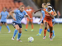 Houston, TX - Friday April 29, 2016: Christine Rampone (3) of Sky Blue FC and Chioma Ubogagu (9) of the Houston Dash race to control the ball at BBVA Compass Stadium. The Houston Dash tied Sky Blue FC 0-0.