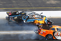 Jun 2, 2019; Joliet, IL, USA; NHRA funny car driver Shawn Langdon explodes an engine on fire during the Route 66 Nationals at Route 66 Raceway. Mandatory Credit: Mark J. Rebilas-USA TODAY Sports