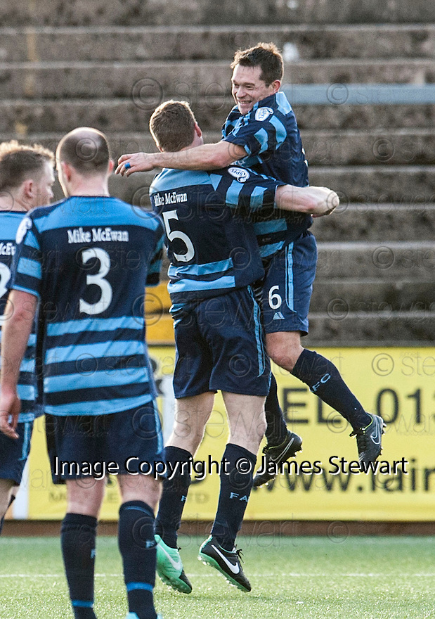 Forfar's Darren Dods (5) and Derek Young (6) celebrate at the end of the game.