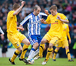 GLASGOW, SCOTLAND - JANUARY 28:  Kilmarnock's Gary Harkins takes on Ayr defender Jonathan Tiffoney during the Scottish Communities Cup Semi Final match between Ayr United and Kilmarnock at Hampden Park on January 28, 2012 in Glasgow, United Kingdom. (Photo by Rob Casey/Getty Images).