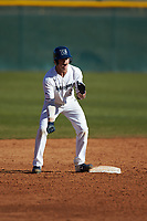 Carson Simpson (3) of the Wingate Bulldogs reacts after hitting a double during the game against the Concord Mountain Lions at Ron Christopher Stadium on February 2, 2020 in Wingate, North Carolina. The Mountain Lions defeated the Bulldogs 12-11. (Brian Westerholt/Four Seam Images)