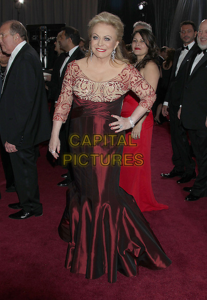 Jacki Weaver.2013 Vanity Fair Oscar Party following the 85th Academy Awards held at the Sunset Tower Hotel, West Hollywood, California, USA..February 24th, 2013.oscars full length red silk satin lace dress hand on hip.CAP/ADM/RE.©Russ Elliot/AdMedia/Capital Pictures.