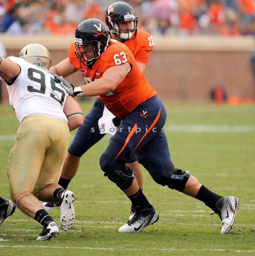 AUSTIN PASZTOR, in action during Virginia's game against William and Mary on September 3, 2011 at  Scott Stadium in Charlottesville, Virginia. Virginia beat William & Mary 40-3.