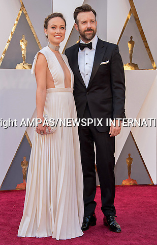 28.02.2016; Hollywood, California: 88th OSCARS - OLIVIA WILDE and JASON SUDEIKIS<br /> attend the 88th Annual Academy Awards at the Dolby Theatre&reg; at Hollywood &amp; Highland Center&reg;, Los Angeles.<br /> Mandatory Photo Credit: &copy;Ampas/Newspix International<br /> <br /> PHOTO CREDIT MANDATORY!!: NEWSPIX INTERNATIONAL(Failure to credit will incur a surcharge of 100% of reproduction fees)<br /> <br /> IMMEDIATE CONFIRMATION OF USAGE REQUIRED:<br /> Newspix International, 31 Chinnery Hill, Bishop's Stortford, ENGLAND CM23 3PS<br /> Tel:+441279 324672  ; Fax: +441279656877<br /> Mobile:  0777568 1153<br /> e-mail: info@newspixinternational.co.uk<br /> All Fees To: Newspix International