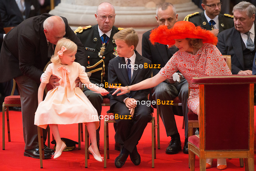 King Philippe of Belgium,  Queen Mathilde of Belgium and their children Prince Emmanuel, Princess Eleonore, Prince Gabriel, Crown Princess Elisabeth attend the Te Deum mass, on the occasion of today's Belgian National Day, at the Saint Michael and St Gudula Cathedral in Brussels.<br /> Belgium, Brussels, July 21, 2014.