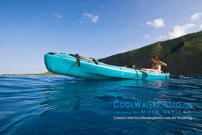 Woman kayaking, Kealakekua Bay, Big Island, Hawaii, Pacific Ocean.