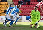St Johnstone v Aberdeen&hellip;15.04.17     SPFL    McDiarmid Park<br />Danny Swanson celebrates his penalty with David Wotherspoon and Liam Craig<br />Picture by Graeme Hart.<br />Copyright Perthshire Picture Agency<br />Tel: 01738 623350  Mobile: 07990 594431