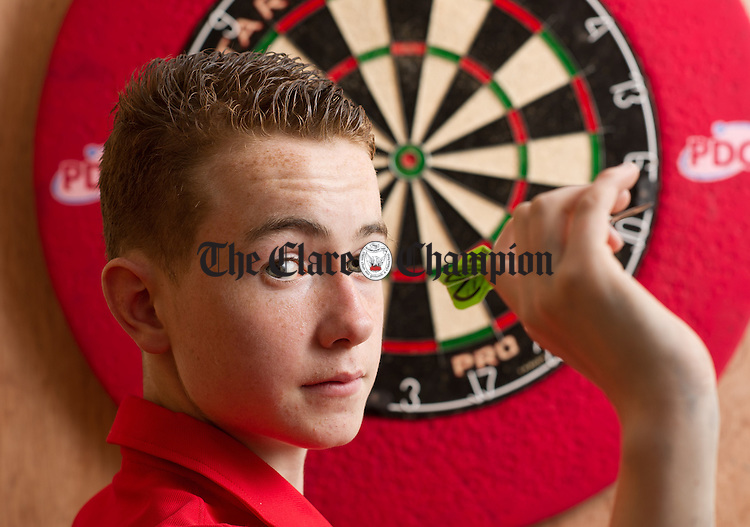 Fourteen Year old Brendan Casey of Kilrush who is representing Ireland in Vienna, Austria on July 16th at the WDF Europe Cup Youth competition. photograph by John Kelly.