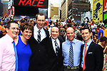 Damon Jacobs also of We Love Soaps poses with Kayla, Glenn (brother of Kevin) and friend Eric as Roger Newcomb and Kevin Mulcahy Jr get married on August 18, 2012 in Times Square, New York City, New York. (Photos by Sue Coflin/Max Photos)