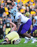 18 October 08: Kansas State defensive end Brandon Harold on a play against Colorado. The Colorado Buffaloes defeated the Kansas State Wildcats 14-13 at Folsom Field in Boulder, Colorado.
