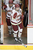 Katelyn Kurth (BC - 14), Kelli Stack (BC - 16) - The Boston College Eagles and the visiting University of New Hampshire Wildcats played to a scoreless tie in BC's senior game on Saturday, February 19, 2011, at Conte Forum in Chestnut Hill, Massachusetts.