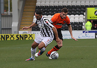 Keith Watson turns Dougie Imrie in the St Mirren v Dundee United Clydesdale Bank Scottish Premier League match played at St Mirren Park, Paisley on 27.10.12. .