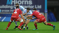 Racing 92 Camille Chat takes on Scarlets' Wyn Jones and David Bulbring<br /> <br /> Photographer Ian Cook/CameraSport<br /> <br /> European Rugby Champions Cup - Scarlets v Racing 92 - Saturday 13th October 2018 - Parc y Scarlets - Llanelli<br /> <br /> World Copyright &copy; 2018 CameraSport. All rights reserved. 43 Linden Ave. Countesthorpe. Leicester. England. LE8 5PG - Tel: +44 (0) 116 277 4147 - admin@camerasport.com - www.camerasport.com