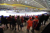 SCHAATSEN: HEERENVEEN: IJsstadion Thialf, 12-02-15, World Single Distances Speed Skating Championships, Blaaskapel de Útlopers uit Sneek in de Friese Bocht, ©foto Martin de Jong