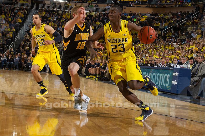 The University of Michigan men's basketball team defeats Iowa, 75-67, at Crisler Center in Ann Arbor, Mich., on Jan. 22, 2014.