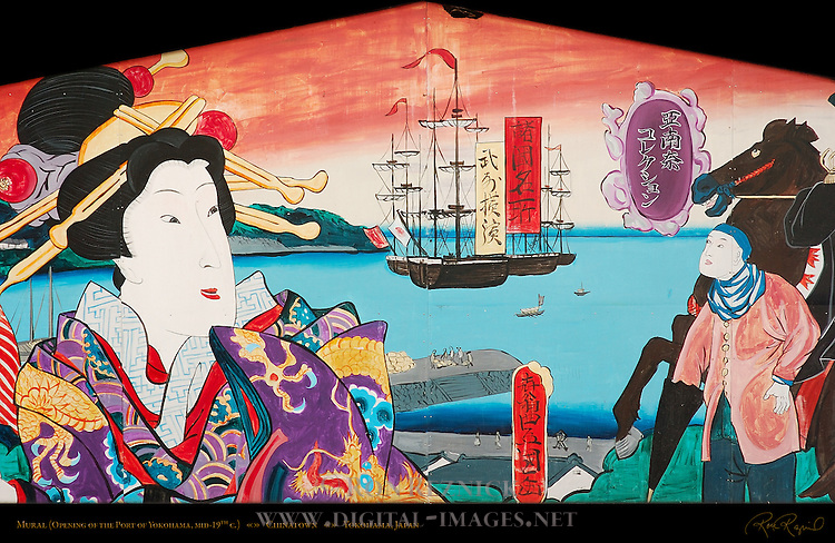 Mural Opening of the Port of Yokohama mid-19th c. Chinatown Yokohama Japan
