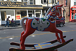 "A view of ""Dala Horse"" created by, Jacqueline L. Vought, one of the ""Rockin' Around Saugerties"" theme Statues on display throughout the Village of Saugerties, NY, on Saturday, June 3, 2017. Photo by Jim Peppler. Copyright/Jim Peppler-2017."