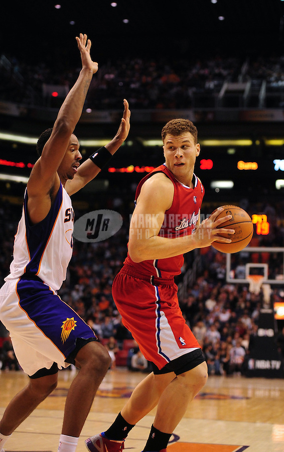 Mar. 2, 2012; Phoenix, AZ, USA; Los Angeles Clippers forward Blake Griffin against the Phoenix Suns at the US Airways Center. The Suns defeated the Clippers 81-78. Mandatory Credit: Mark J. Rebilas-USA TODAY Sports