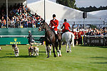 Stamford, Lincolnshire, United Kingdom, 8th September 2019, The Fitzwilliam Hunt during the Show Jumping Phase on Day 4 of the 2019 Land Rover Burghley Horse Trials, Credit: Jonathan Clarke/JPC Images