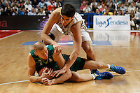 01.04.2012 SPAIN - ACB match played between Real Madrid vs Unicaja  at Palacio de los deportes stadium. The picture show Carlos Suarez (Spanish small forward of Real Madrid)