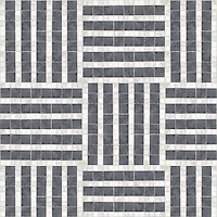 Grate, a hand-cut stone mosaic, shown in polished Bardiglio, Calacata Tia.