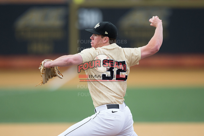 Wake Forest Demon Deacons relief pitcher Chris Farish (32) delivers a pitch to the plate against the Harvard Crimson at David F. Couch Ballpark on March 5, 2016 in Winston-Salem, North Carolina.  The Crimson defeated the Demon Deacons 6-3.  (Brian Westerholt/Sports On Film)