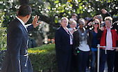 United States President Barack Obama waves to the guests as he departs the White House en route West Palm Beach, Florida on the South Lawn of the White House on April 10, 2012 in Washington, DC. .Credit: Olivier Douliery / Pool via CNP