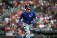 SAN FRANCISCO, CA - AUGUST 9:  Kris Bryant #17 of the Chicago Cubs runs to first base against the San Francisco Giants during the game at AT&T Park on Wednesday, August 9, 2017 in San Francisco, California. (Photo by Brad Mangin)