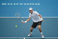 MELBOURNE, AUSTRALIA - JANUARY 12: TOMAS BERDYCH (CZE) in action against MARCOS BAGHDATIS (CYP) on day 4 of the 2013 AAMI Classic event at the Kooyong Lawn Tennis Club in Melbourne, Australia. (Photo Sydney Low).Berdych def Baghdatis 6-3, 6-2