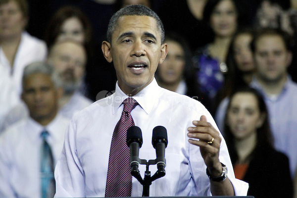 President Obama pictured giving a speech to push Congress to act to extend and expand the payroll tax cut at Scranton High School in Scranton, Pa on November 30, 2011  © Star Shooter / MediaPunchInc