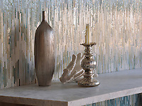 Loom, a handmade jewel glass mosaic shown in Quartz, Aquamarine, Tanzanite and Turquoise, is part of the Ikat Collection by Sara Baldwin New Ravenna Mosaics.<br />