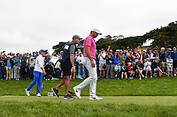 Jason Day (AUS) and Rickie Fowler (USA) head down 9 during round 1 of the 2019 US Open, Pebble Beach Golf Links, Monterrey, California, USA. 6/13/2019.<br /> Picture: Golffile | Ken Murray<br /> <br /> All photo usage must carry mandatory copyright credit (© Golffile | Ken Murray)