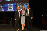 San Francisco, CA - Saturday Feb. 14, 2015: (Left to right): US Soccer president Sunil Gulati, US Soccer player Kristine Lilly and Anson Dorrance pose for a photograph as Kristine Lilly is inducted into the hall of fame at the 2014 US Soccer Hall of Fame Induction ceremony.