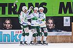 Stockholm 2014-03-01 Bandy SM-semifinal 1 Hammarby IF - V&auml;ster&aring;s SK :  <br /> V&auml;ster&aring;s Ted Bergstr&ouml;m har gjort 2-0 och jublar med V&auml;ster&aring;s Oscar Gr&ouml;hn och V&auml;ster&aring;s Pekka Rintala <br /> (Foto: Kenta J&ouml;nsson) Nyckelord:  VSK Bajen HIF jubel gl&auml;dje lycka glad happy