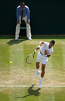 Novak Djokovic (2) of Serbia in action against Adam Pavlasek of Czech Republic in their Men's Singles Second Round Match today<br /> <br /> Photographer Ashley Western/CameraSport<br /> <br /> Wimbledon Lawn Tennis Championships - Day 4 - Thursday 6th July 2017 -  All England Lawn Tennis and Croquet Club - Wimbledon - London - England<br /> <br /> World Copyright &not;&copy; 2017 CameraSport. All rights reserved. 43 Linden Ave. Countesthorpe. Leicester. England. LE8 5PG - Tel: +44 (0) 116 277 4147 - admin@camerasport.com - www.camerasport.com