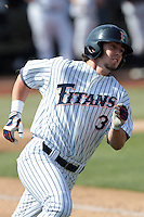 Anthony Hutting #3 of the Cal State Fullerton Titans runs the bases against the TCU Horned Frogs at Goodwin Field on February 26, 2012 in Fullerton,California. Fullerton defeated TCU 11-10.(Larry Goren/Four Seam Images)