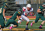 SPEARFISH, SD - OCTOBER 26, 2013:  Jarred Radebaugh #88 of Colorado State - Pueblo tries to evade defenders from Black Hills State during their Rocky Mountain Athletic Conference game Saturday at Lyle Hare Stadium in Spearfish, S.D. CSU-Pueblo won 51-17. (Photo by Dick Carlson/Inertia)
