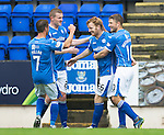 St Johnstone v Hamilton Accies...12.09.15  SPFL McDiarmid Park, Perth<br /> Liam Craig celebrates his goal with Chris Millar, David Wotherspoon and Brian Easton<br /> Picture by Graeme Hart.<br /> Copyright Perthshire Picture Agency<br /> Tel: 01738 623350  Mobile: 07990 594431