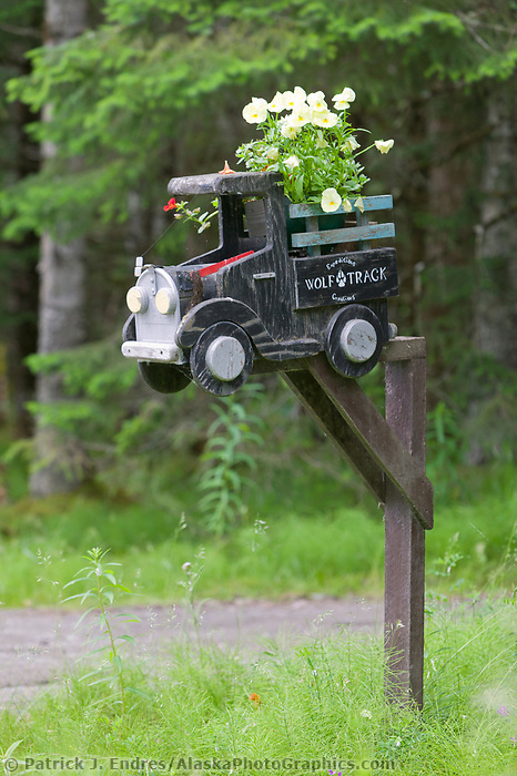 Mailbox in the coastal community of Gustavus, Alaska