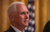 United States Vice President Mike Pence listens to US President Donald J. TrumpLeadership Summit 2019 at the White House in Washington, D.C. on Friday October 4, 2019.   <br /> Credit: Tasos Katopodis / Pool via CNP