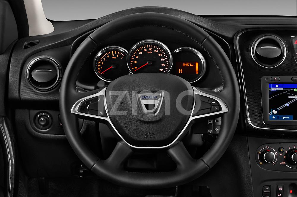 Car pictures of steering wheel view of a 2017 Dacia Logan-MCV Laureate 5 Door Wagon Steering Wheel