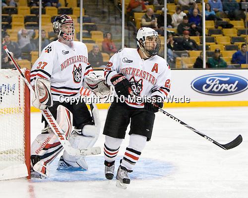 Chris Rawlings (NU - 37), Greg Costa (NU - 22) - The Northeastern University Huskies defeated the Harvard University Crimson 4-1 (EN) on Monday, February 8, 2010, at the TD Garden in Boston, Massachusetts, in the 2010 Beanpot consolation game.