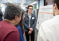 """Efforts Toward the Total Synthesis of Swerilactone A"" by Noel Jameson<br /> (Mentor: Raul Navarro, Chemistry)<br /> Occidental College's Undergraduate Research Center hosts their annual Summer Research Conference, Aug. 1, 2018. Student researchers presented their work as either oral or poster presentations at the final conference. The program lasts 10 weeks and involves independent research in all departments.<br /> (Photo by Marc Campos, Occidental College Photographer)"