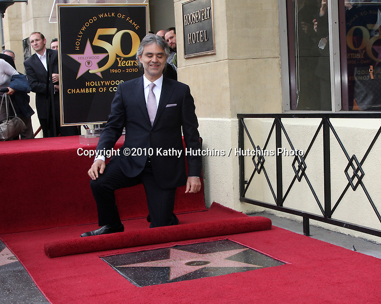 Andrea Bocelli .arriving at the Hollywood Walk of Fame Star Ceremony for Andrea Bocelli.Roosevelt Hotel.Los Angeles, CA.March 2, 2010.©2010 Kathy Hutchins / Hutchins Photo....