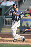 Austin Wates (8) of the Corpus Christi Hooks swings against the Springfield Cardinals at Hammons Field on August 19, 2012 in Springfield, Missouri.(Dennis Hubbard/Four Seam Images)