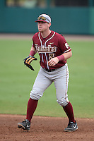 Florida State Seminoles first baseman John Nogowski (3) during a game against the South Florida Bulls on March 5, 2014 at Red McEwen Field in Tampa, Florida.  Florida State defeated South Florida 4-1.  (Mike Janes/Four Seam Images)