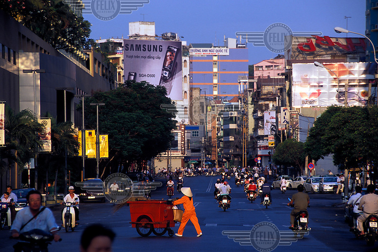 Early morning street scene in central Saigon.