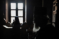 Mount Athos - The Holy Mountain.<br /> Monks pray at church.<br /> <br /> Photographer: Rick Findler